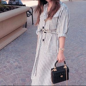 NWT Zara Striped Linen Shirt Dress with Tied Waist